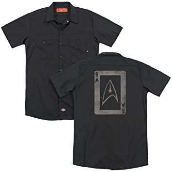 STAR TREK Tos Ace (Back Print) Adult Work Shirt Black XL: Amazon ...