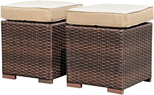 Patiorama 2 Pieces Assembled Outdoor Patio Ottoman, Indoor/Outdoor All-Weather Dark Brown Wicker Rattan Outdoor Footstool Footrest Seat with Beige Cushions, No Assembly Required