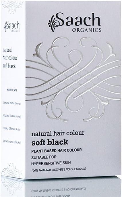 Tinte para pelo natural (color negro suave) de Saach Organics