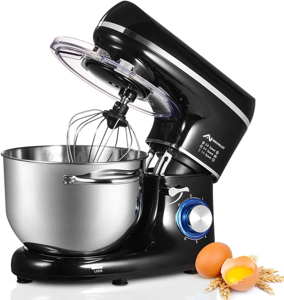 Nidouillet Stand Mixer, Electric Kitchen Mixers 6-Speed,Food Mixer with Dough Hook, Wire Whip & Beater, Stainless Steel Bowl AB094