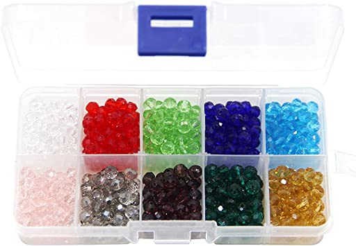 500pcs Crystal Beads BetterJonny 6mm Rondelle Shape Beads Crystal Glass Beads Finding Spacer Beads 10 Colors with Container Box