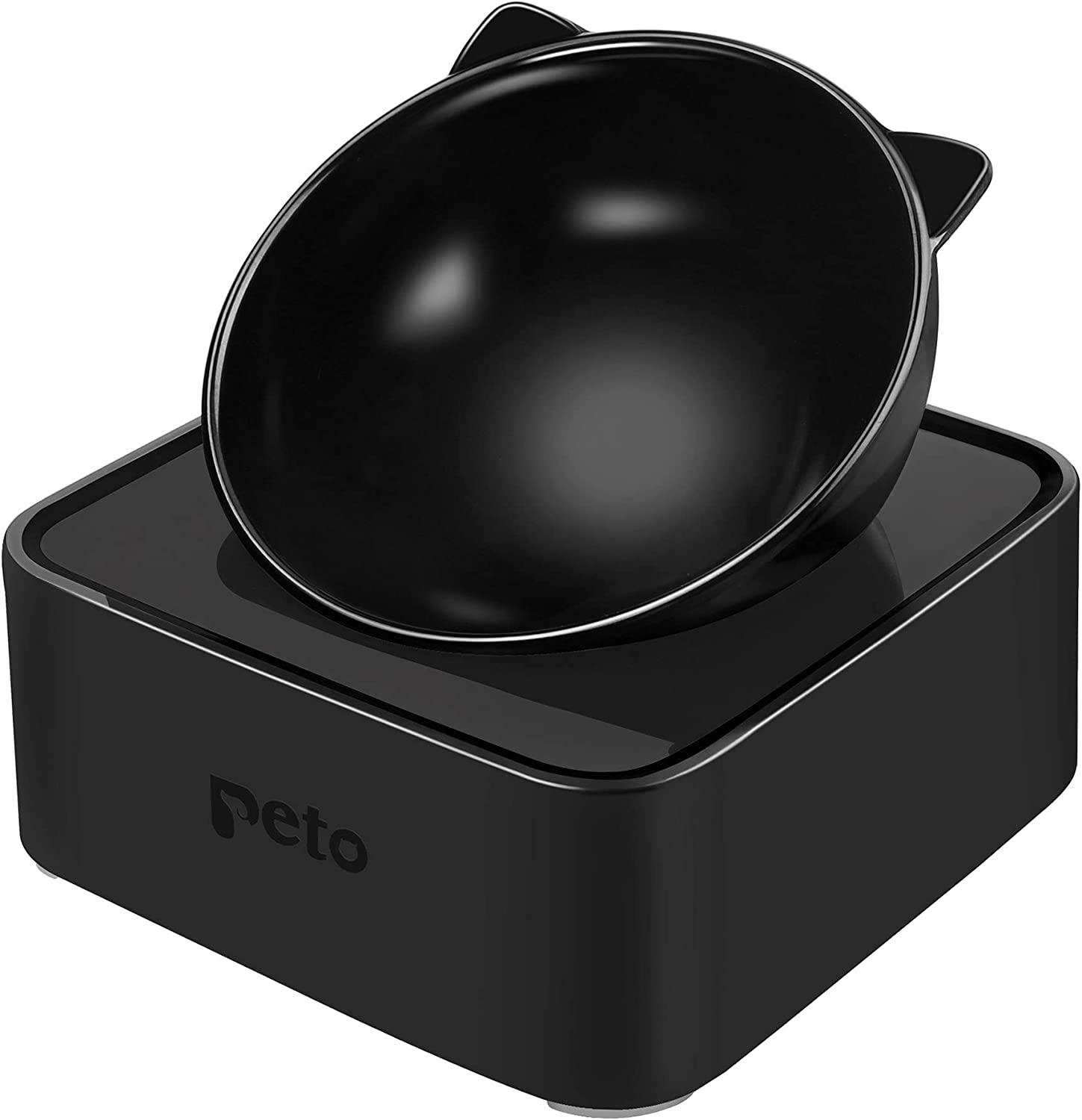 Peto Cat Dog Bowl Raised Cat Food Water Bowl with Detachable Elevated Stand Pet Feeder Bowl No-Spill, 0-30°Adjustable Tilted Pet Bowl Stress-Free Suit for Cat Dog (White) (Black)