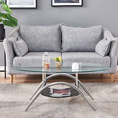 Oval Coffee Table,BELIFEGLORY Round Oval Glass Top Coffee Table Modern Tempered Glass Center Table Sofa Side Cocktail Table