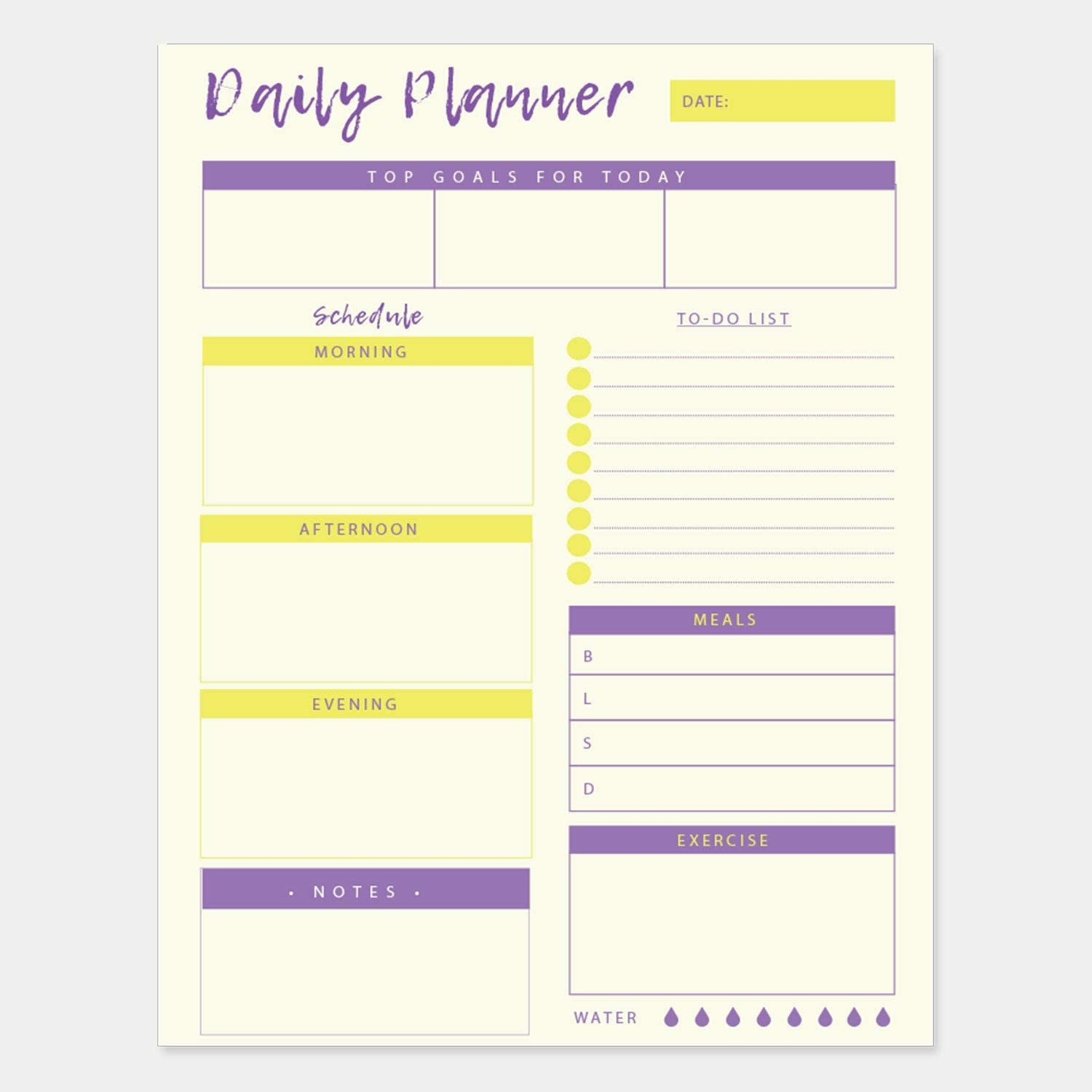 Daily Planner - 50 Sheets of 8.5x11 Inches Undated Checklist Organizer Tear-Off Pads with Field Task Notes- For Home-Work Journal, Personal Goal, Scheduling and Planning To-Do List - Yellow and Violet