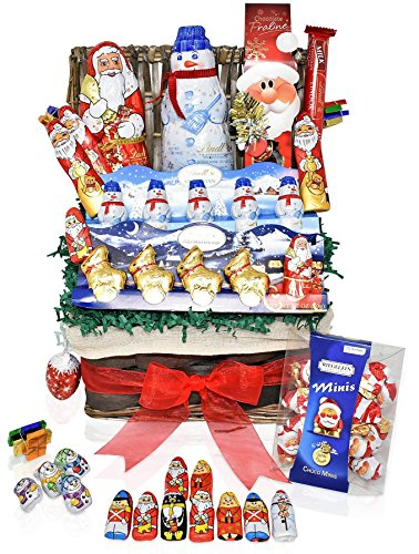 Lindt Christmas Chocolate Variety Gift Basket - Lindt, Santa's, Snowmen, Reindeer and more Christmas Specials - Mixed Gift Pack for Family, Friends (Gift Christmas Baskets)