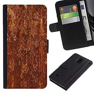 KingStore / Leather Etui en cuir / Samsung Galaxy Note 4 IV / Textura del modelo del metal de Brown rústico