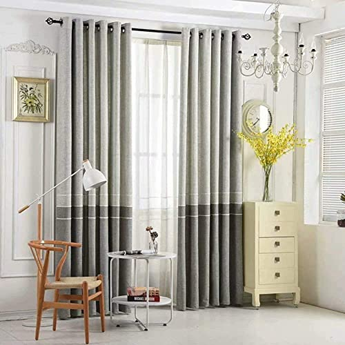 Leadtimes Bedroom Linen Curtains Grey Embroidered Divider Grommet Drapes 102 Inch Long Extra Wide Splicing Blackout Curtain, ONLY 1 Panel Grey, 100 W x 102 L