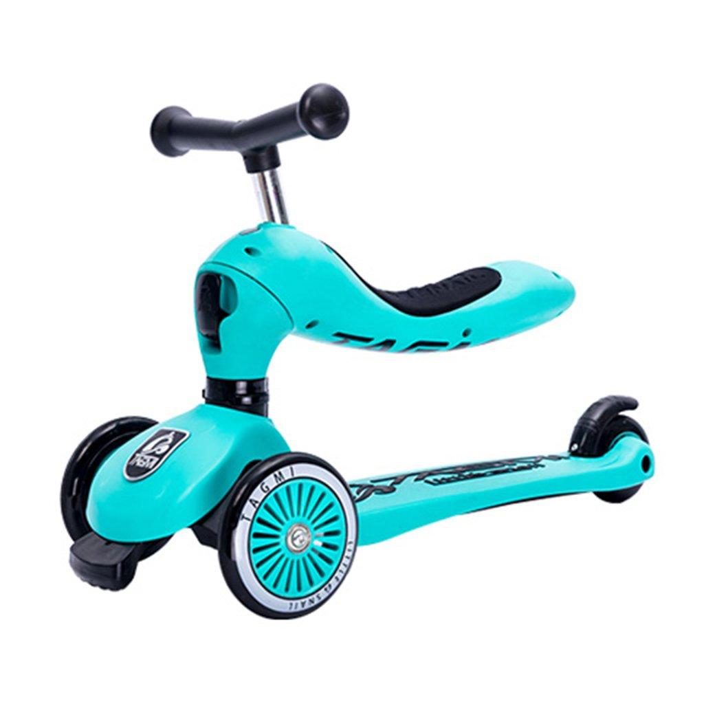 最終決算 スクーター子供たち多機能ベビーウォーカー四輪折りたたみはおもちゃを座らせることができますヨーヨー車のフラッシュホイール3-12歳 Green B07FYLCWQF B07FYLCWQF Green, カミーノ:257a6fba --- a0267596.xsph.ru