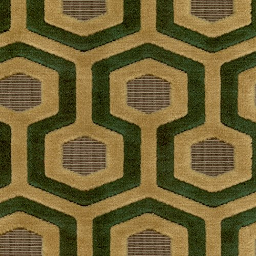 Paramount Lux Green Green Teal Green Mint Seafoam Geometric Woven Pile Upholstery Fabric by the yard (Paramount Ottoman)