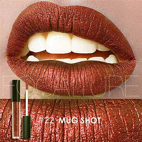 (Focallure Lipstick Metallic Red Lipgloss Makeup Womens Sparkly Glitter Stay On Long Lasting Glossier Colorstay Liquid Waterproof Lip Gloss Dark Red)