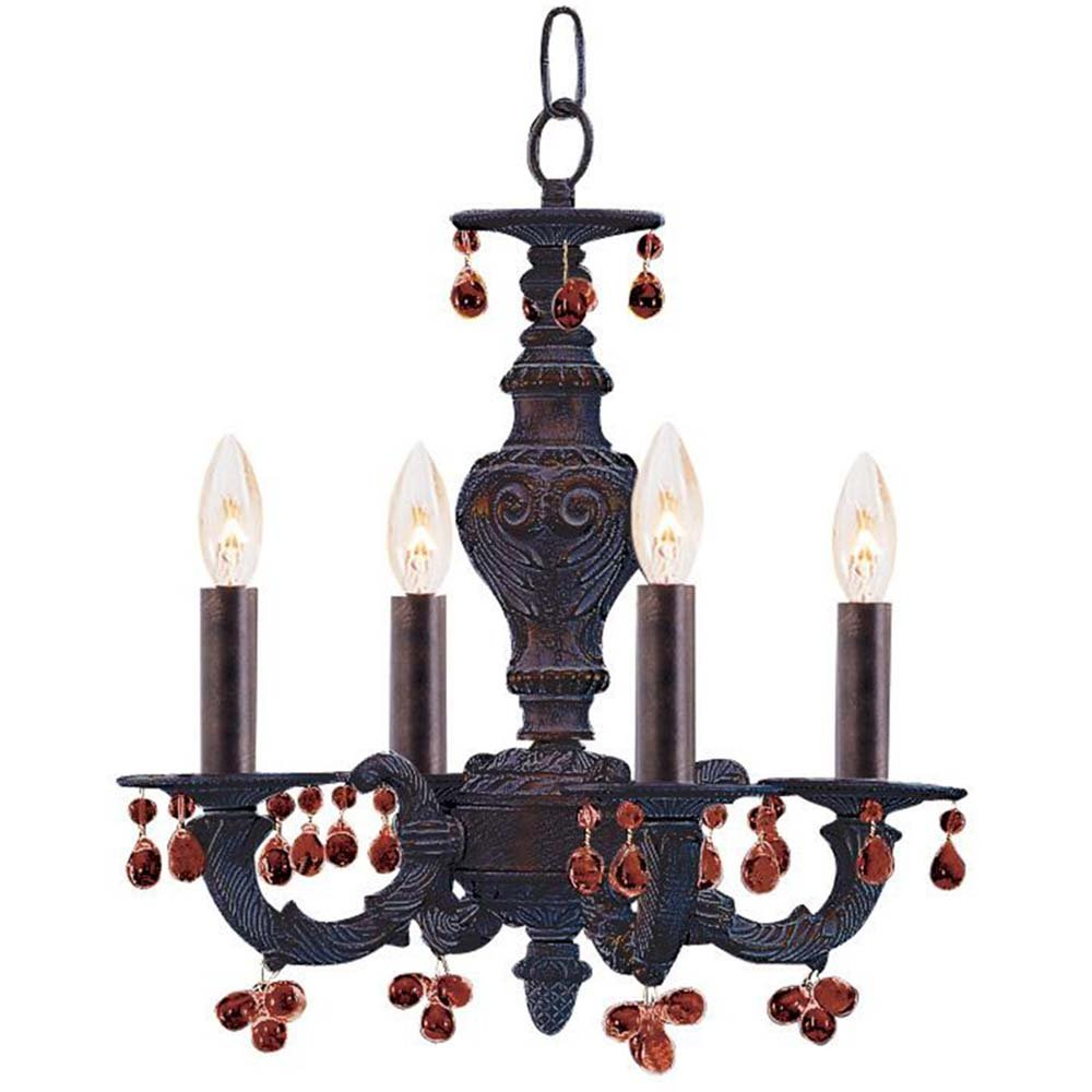 Crystorama 5224-VB-AMBER Crystal Accents Four Light Mini Chandelier from Paris Market collection in Bronze//Darkfinish,