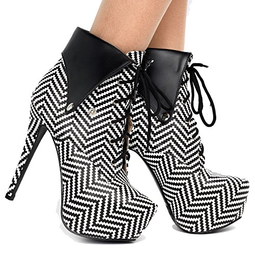 Dots Ankle Black Show Bootie Stiletto LF80832 Herringbone Gothic White Up Polka Beige Story Black Lace zUZSI