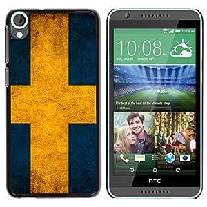 MOBMART Carcasa Funda Case Cover Armor Shell PARA HTC Desire 820 - Swedish Country Flag