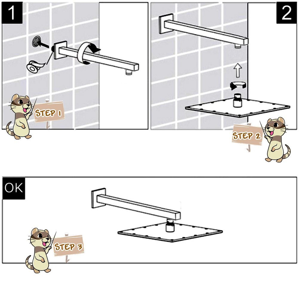 EMBATEHR Extra Long and Thicken Brass 16 Inch Shower Extension Brushed Nickel