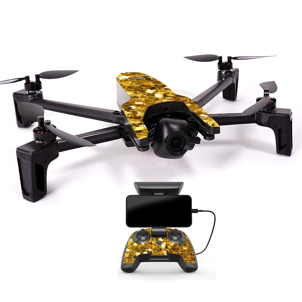 MightySkins スキンデカールラップ オウムステッカー保護カバー 100色展開, Minimal Drone & Controller Coverage, PAANAMIN-Ripped B07H7S1NJZ Minimal Drone & Controller Coverage Gold Chips Gold Chips Minimal Drone & Controller Coverage