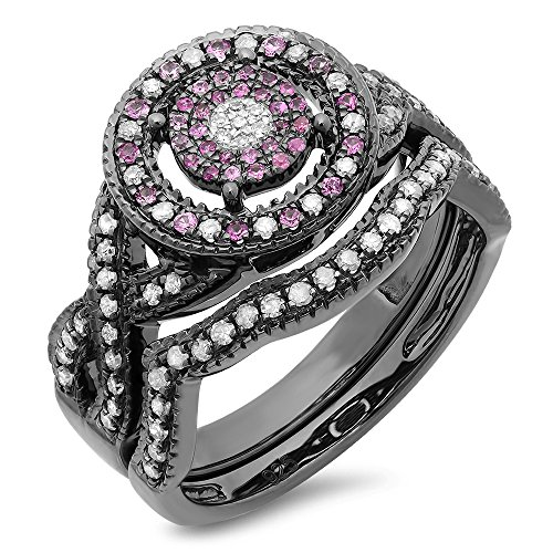 Black Rhodium Plated Sterling Silver White Diamond And Pink Sapphire Ring Set (Size 8) (Pink Diamond Ring Fancy)