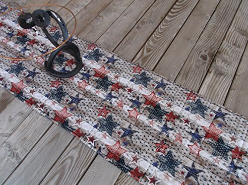 - Wood Grain Stars and Stripes Quilted Fabric Table Runner or Sideboard Runner 71 inches