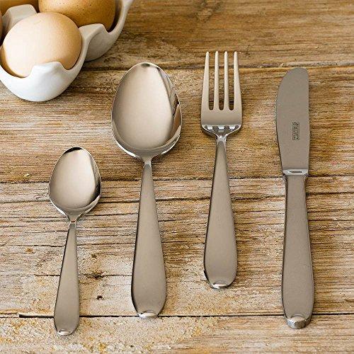 Monix London - Set de cubiertos 75 piezas de acero inox 18/10 con cuchillo chuletero y estuche Nogal, con cuchillo chuletero: Amazon.es: Hogar