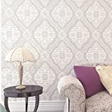 Blooming Wall Non-woven Fabric Trellis Damask Pattern 3d Flocking Embossed Textured Wallpaper Wall Mural,20.8 Inches Wide by 11 Yard Long,81604