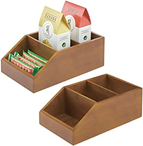 mDesign Bamboo Wood Food Storage Bin with Divided 3 Compartments and Sloped Front for Kitchen Cabinet, Pantry, Shelf to Organize Seasoning Packets, Powder Mixes, Spices, Snacks - 2 Pack - Brown