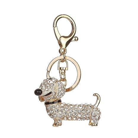 TOYMYTOY Llavero de animales Llavero lindos perro para bolso coche mochila colgante (Blanco)