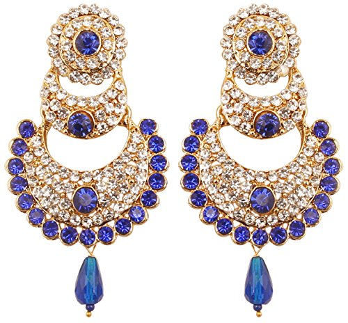 Touchstone Indian Bollywood White Crystals And Faux Blue Sapphire Chand Bali Moon Designer Jewelry Chandelier Earrings For Women In Antique Gold Tone