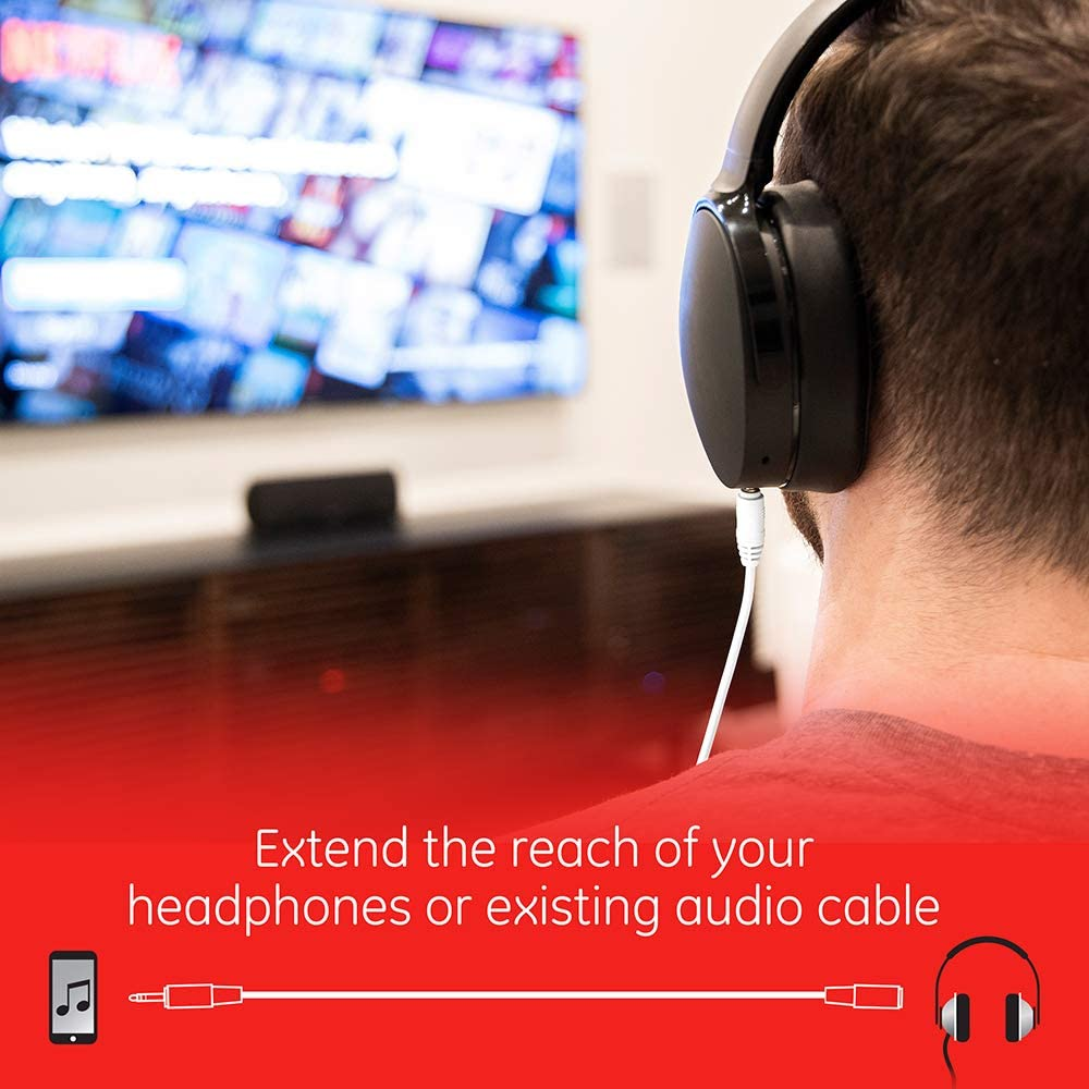 for use with Headphones Stereos Coiled Cable 33612 18 Feet Smartphones Black GE Universal Audio Extension Kit Tablets and Sounds Systems 3.5mm Plugs and Coiled Extension Cable