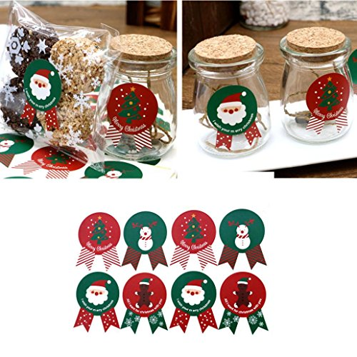 Sinwo 96 PCS Christmas Label Stickers Baking Cookie Candy Package Decoration Xmas Decor (96 PCS, Multicolor) Top 10 Christmas Markets