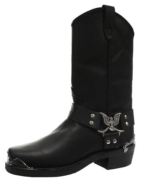 8bdc6ec682 New Grinders Eagle Hi Botas de Cuero Negras para Hombres Botas Vaqueras  para Mujeres (Mens UK 6   EU 40