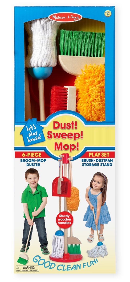 Spray, Squirt, and Squeegee, Toy Vacuum, and Dust, Sweep, Mop, Duster, Broom, Cleaning Toy Pretend Play Set by Melissa and Doug