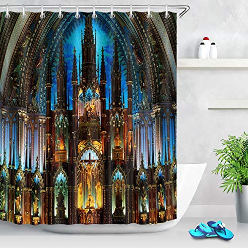 LB Notre Dame de Paris Shower Curtain Christian Church Cathedral Scenery French Architecture Bathroom Curtains with Hooks Home Decor 60x72 inch Waterproof Polyester Fabric