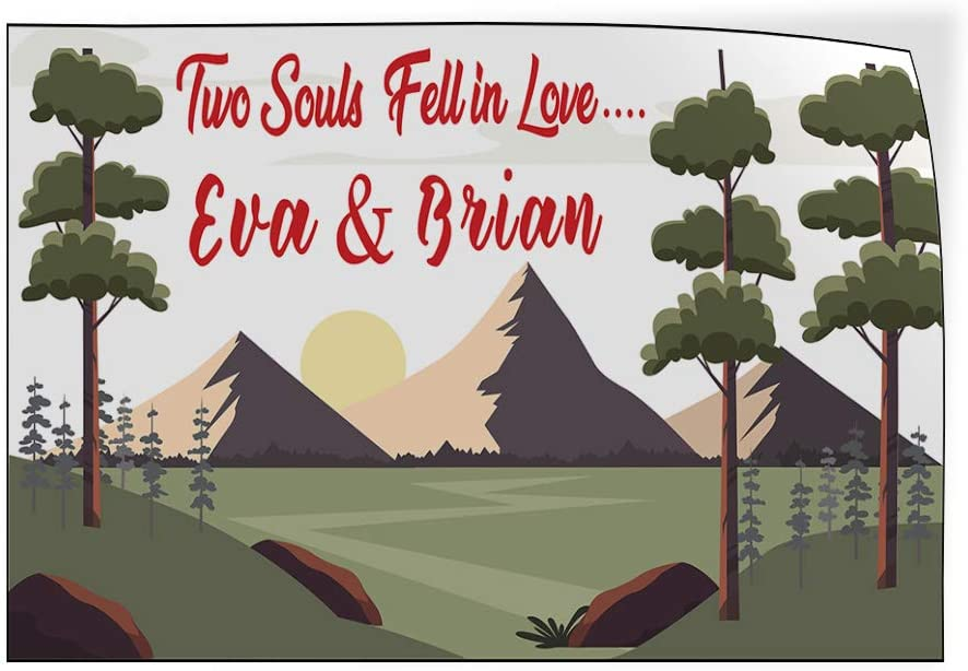 Custom Door Decals Vinyl Stickers Multiple Sizes 2 Souls Fell in Love Name Nature Lifestyle Wedding Outdoor Luggage /& Bumper Stickers for Cars Green 27X18Inches Set of 5