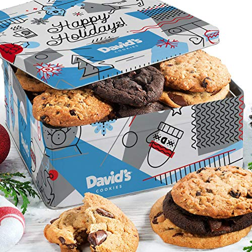David's Cookies – Assorted Fresh-Baked Winter Wonderland Christmas Gift Tin – 2 Lb