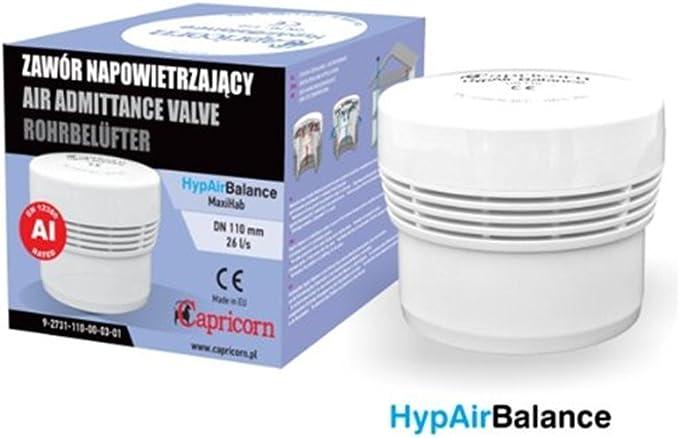 DN-110mm Hyp Air Balance v/álvula de ventilaci/ón para sanitarios//conductos de evacuaci/ón Capricorn Hyp