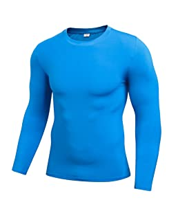 Luxsea Mens Compression Long Sleeve Sports Under Base Layer Blouse T-Shirt Running Tops