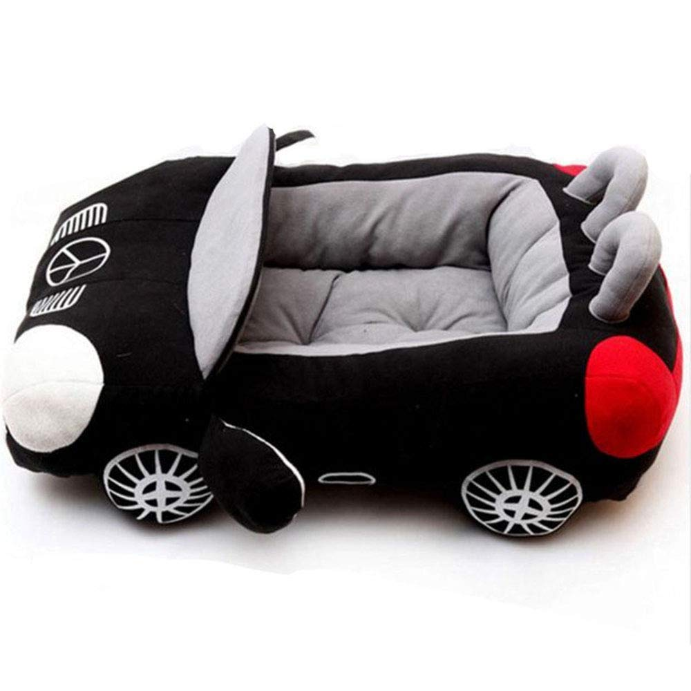 Gperw Deluxe Cute Cozy Black Car Pet Beds Cover For Small-Medium Dog Non Slip Cushion Pad