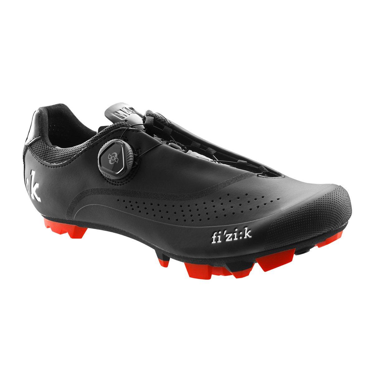 Fizik Men's M4B Uomo Boa Mountain Bike Shoes - Black/Black with Red Trim B01NBF8ZSL 46|Black-Red