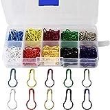 wotu 300 Pcs Bulb Pins, Colors Marker Tag Pins Safety Pins Metal Calabash Pins with Storage Box for DIY Craft Making Clothing