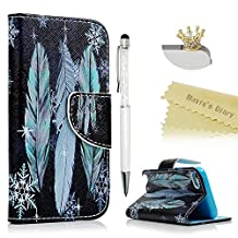 Touch 5,Touch 6 Wallet Case - Mavis's Diary Premium PU Leather with Magnetic Clasp and Card Holders Flip Cover for iPod Touch 5th & 6th Generation with Golden Crown Dust Plug & Pen (Blue Feathers)