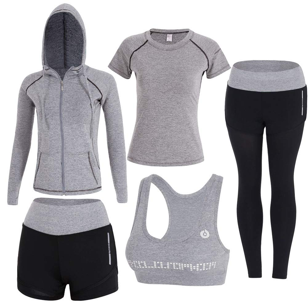 Light Grey Onlyso Women's 5pcs Sport Suits Fitness Yoga Running Athletic Tracksuits