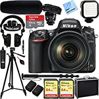 Nikon D750 DSLR 24.3MP Digital Camera + AF-S NIKKOR 24-120mm f/4G ED VR Lens w/ Tascam DSLR Audio Recorder and Shotgun Microphone + 128GB & 64GB Pro Video Bundle