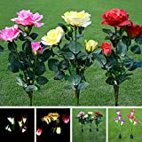 cyclamen9 Solar Light Flower Lily Stakes, Outdoor LED Garden Flowers for Night Lighting, Solar Path Walkway, Lawn, Garden, Pond, Patio, Gravestones, Special Occasions, etc(3-Head Rose,Yellow)