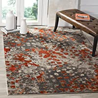 Safavieh Monaco Collection MNC225H Modern Abstract Grey and Orange Area Rug (8 x 11)