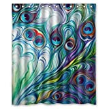 Painting a Bathroom Vanity Flawless peacock feathers Watercolor painting Bathroom Shower Curtain, Shower Rings Included 100% WaterProof Polyester Fabric 60
