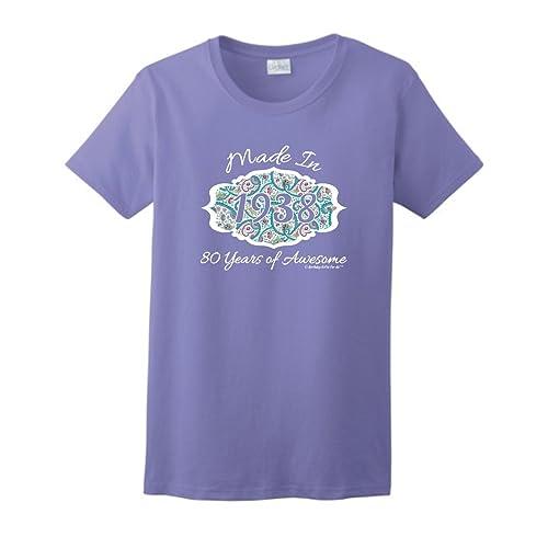 80th Birthday Gift Made 1938 Paisley Crest Ladies T Shirt