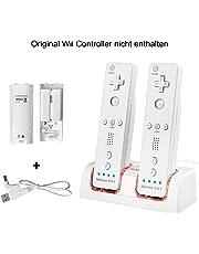 Wii Controller Ladegerät,TechKen Nintendo Spiele Wii Remote Fernbedienung Ladestation Docking Station Wii Charger Mit 2 Wiederaufladbaren Akkus und 2 LED Ladegeräte Ports