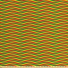 Ambesonne Rasta Fabric by the Yard, Vivid Colors Ethiopian African Flag Colors in Wavy Style Stripes Image, Decorative Fabric for Upholstery and Home Accents, Marigold Green and Red