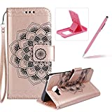 Rope Leather Case for Samsung Galaxy A310 2016,Strap Wallet Case for Samsung Galaxy A310 2016,Herzzer Bookstyle Classic Elegant Mandala Flower Pattern Stand Magnetic Smart Leather Case with Soft Inner for Samsung Galaxy A310 2016 + 1 x Free Pink Cellphone Kickstand + 1 x Free Pink Stylus Pen - Rose Gold