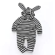 Newborn Infant Unisex Baby Rabbit Romper Bunny Ear Hooded Jumpsuit Stripe Bodysuit Outfit Clothes (0-6 Months, Stripe)