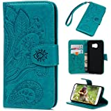 Galaxy S6 Case, Samsung Galaxy S6 Case - Wallet Flip Stand Case Embossed Plants PU Leather Case Shockproof Soft TPU Inner Bumper Slim Protective Card Slots Wrist Strap Cover Badalink - Blue